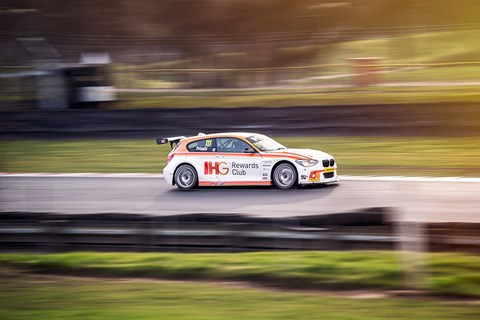 Andy Priaulx's BMW 125i touring car on track at Brands Hatch