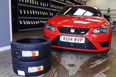 Tyre change for CAR's Leon Cupra long-termer