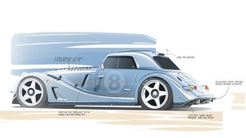 Morgan Plus 8 GTR sketch - rear