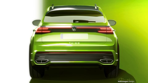 Green 2021 Volkswagen Taigo rear elevation sketch