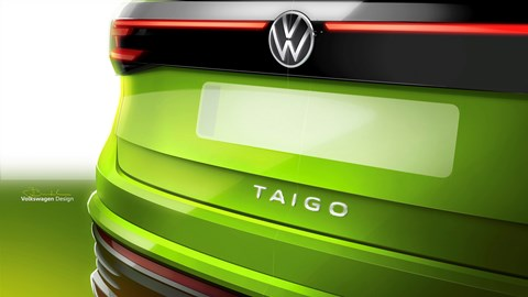 Green 2021 Volkswagen Taigo rear badge detail