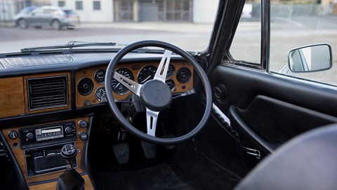 Triumph Stag interior is unchanged by Electrogenic, but gauges now show EV info