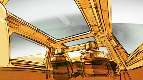 Design sketch of the Volkswagen T7 Multivan's interior