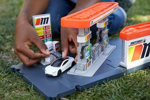 Tesla Roadster Matchbox model electric car with EV charging station