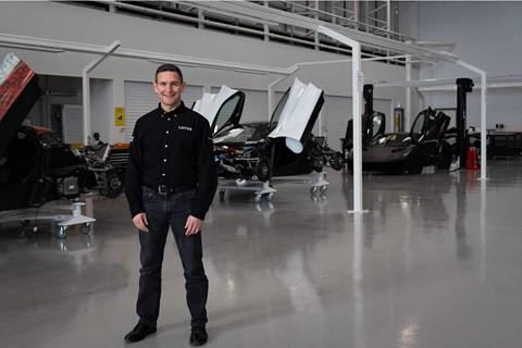 Matt Windle in the Lotus Evija facility