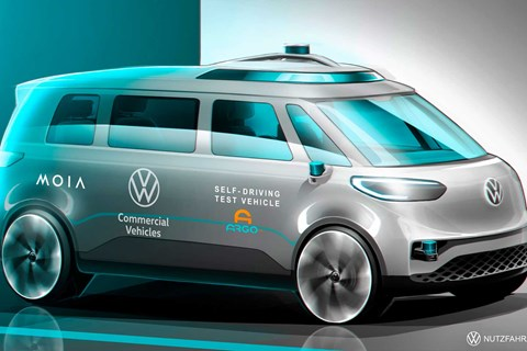 Sketch of driverless VW ID Buzz cargo vehicle