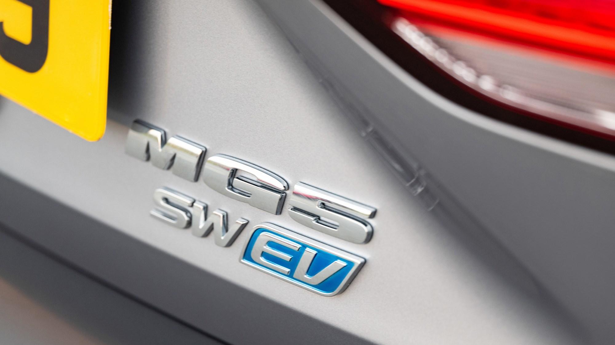 Grey MG5 EV estate tailgate badge