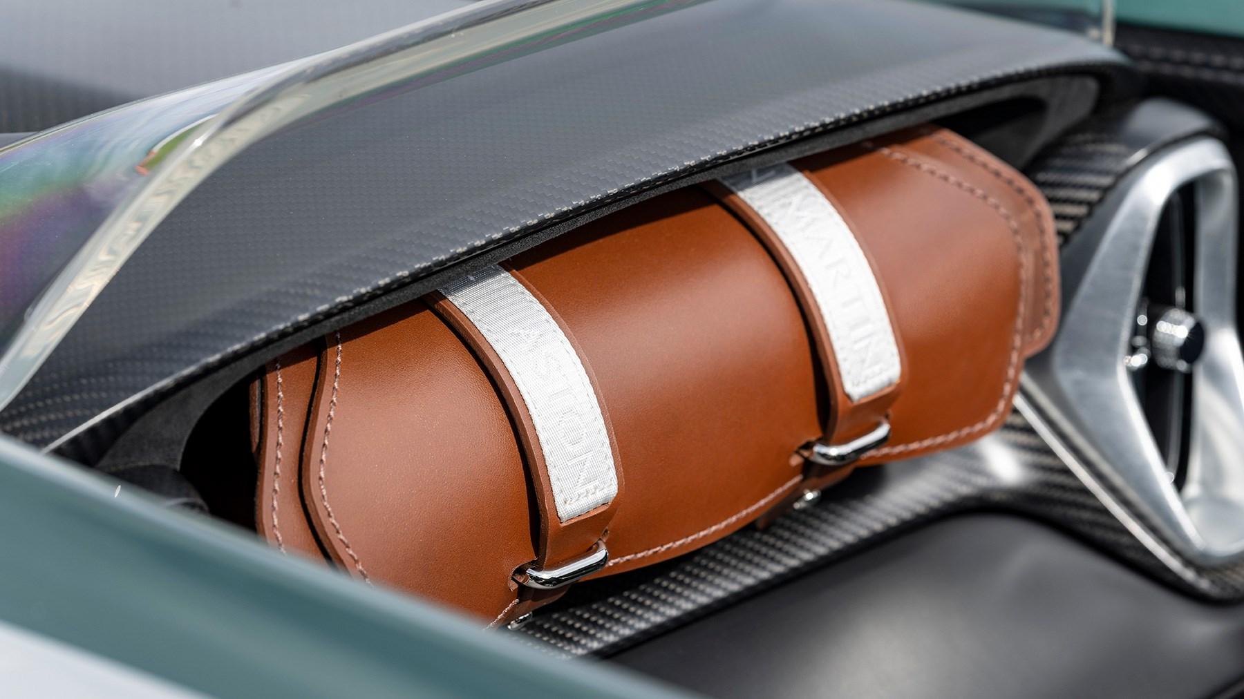 Aston Martin V12 Speedster leather bag in lieu of glovebox