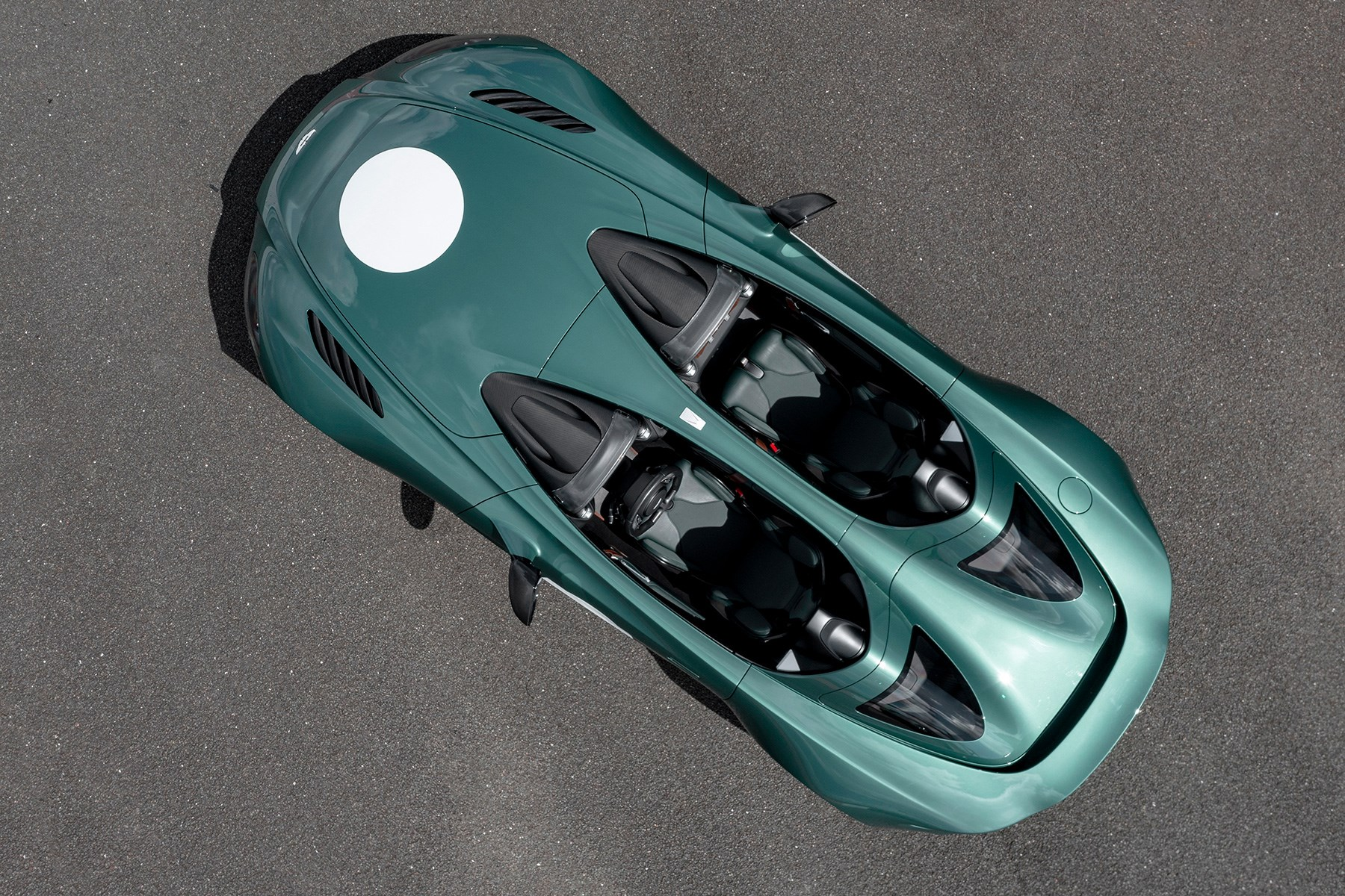 Aston Martin V12 Speedster bird's eye aerial view