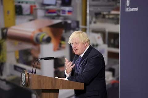 PM Boris Johnson at the opening of the UK Battery Industrialisation Centre