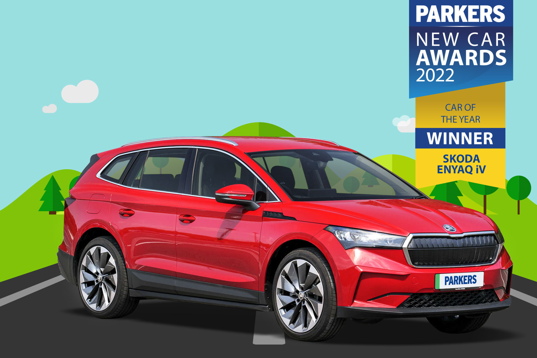 Parkers' Best Large Electric Car award goes to the Skoda Enyaq iV