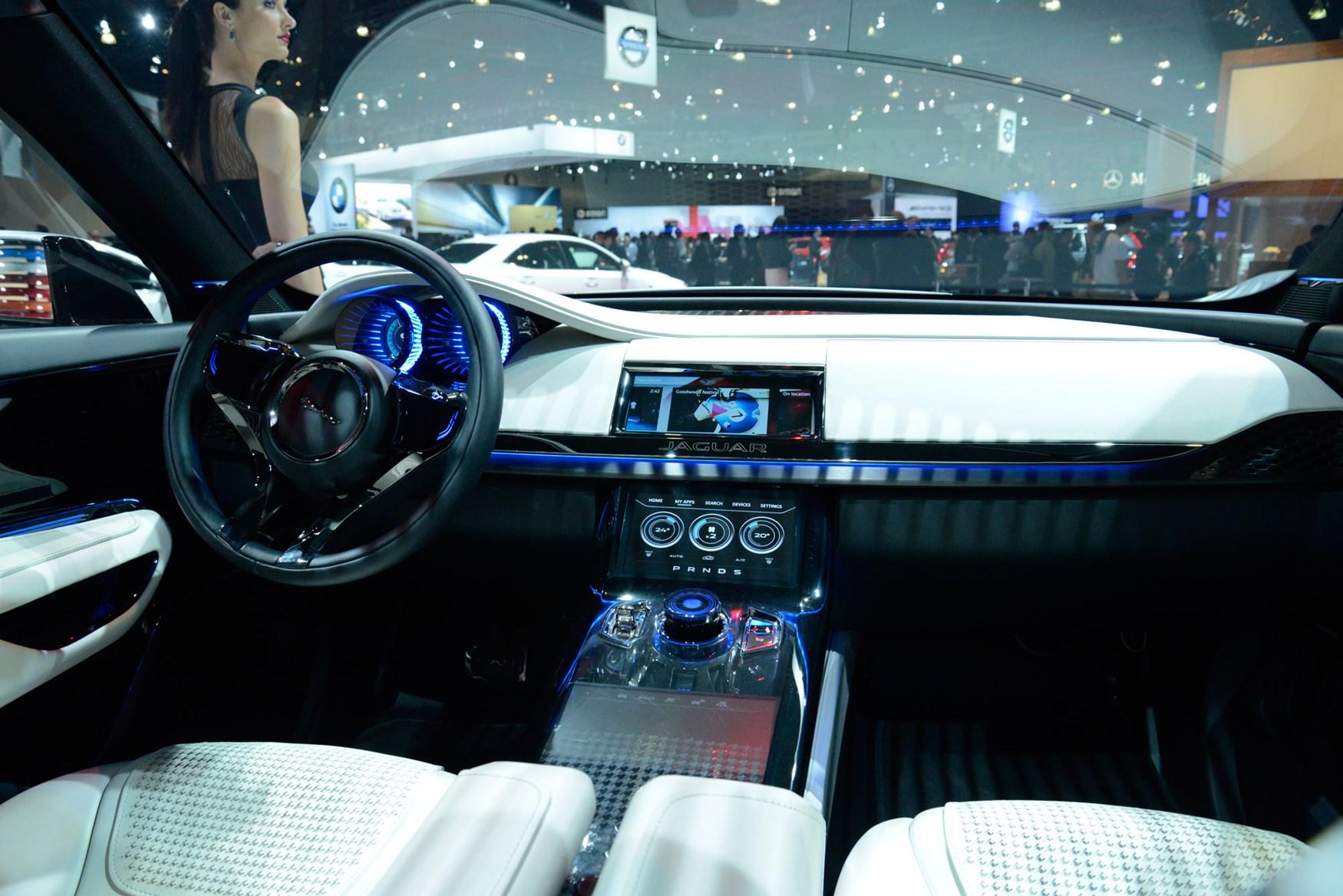 jaguar f pace interior spyshots a peek inside new jag suv by car magazine. Black Bedroom Furniture Sets. Home Design Ideas