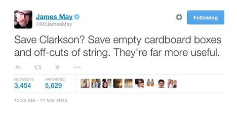 James May tweet on Jeremey Clarkson 'fracas'
