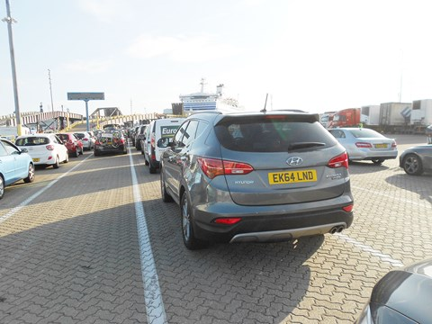 Our Hyundai Santa Fe queuing up for Brittany Ferries crossing to St Malo