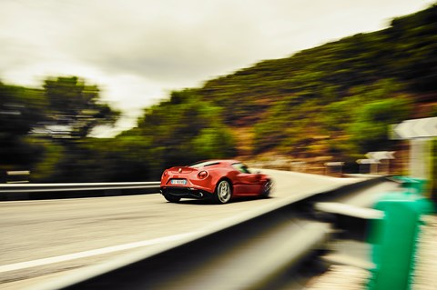 Alfa Romeo 4C in the Med, parrying hard. Photo by Steffen Jahn for CAR magazine
