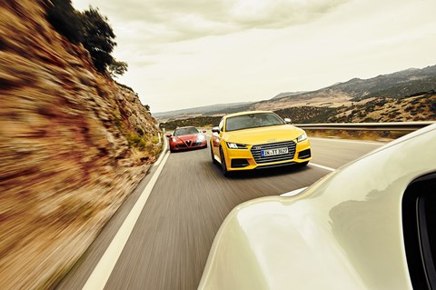 Audi TTS vs Alfa Romeo 4C vs Porsche Cayman, photographed by Steffen Jahn