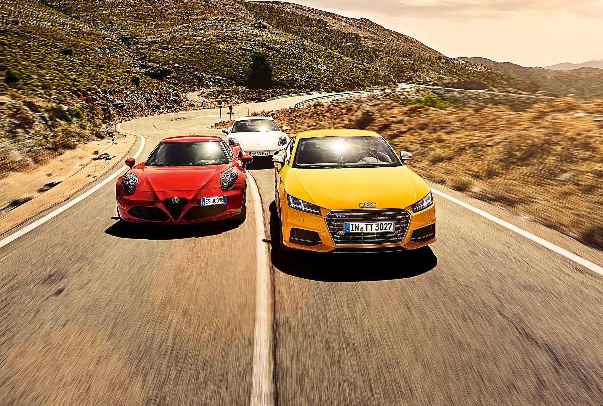 Audi Tt Vs Bmw 2 Series Twin Test Review 2015 Car Magazine Alfa Romeo Rear Axle 4c Red Yellow And Porsche Cayman Silver