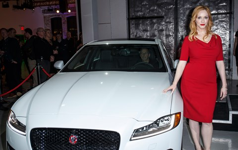 Mad Men star Christina Hendricks dropped by the Jaguar XF world debut in New York