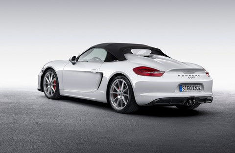 New 2015 Porsche Boxster Spyder, roof-up
