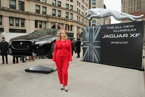 Christina Hendricks arrived for the Jag XF world debut