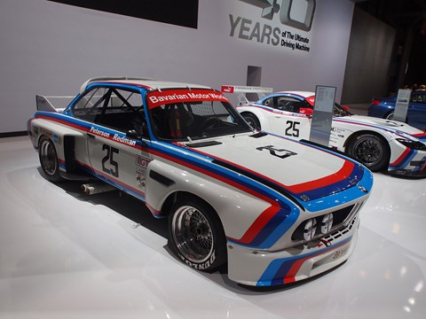 The BMW CSL nestles alongside a Z4 GT3 at the New York International Auto Show