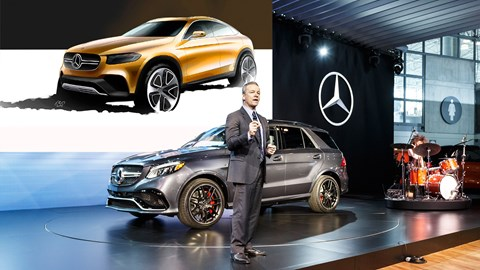 While Mercedes unveiled the GLE in New York, it also confirmed the GLC Coupe (inset)