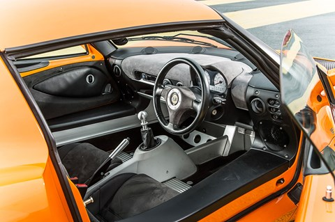 Clambering into an Exige S2 cabin is tricky, but it's focused when ensconced