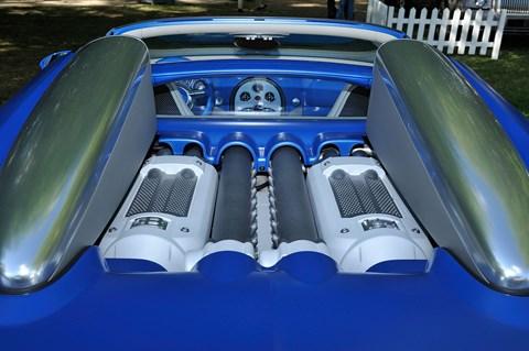 The Bugatti 8.0-litre W16 quad-turbo in action