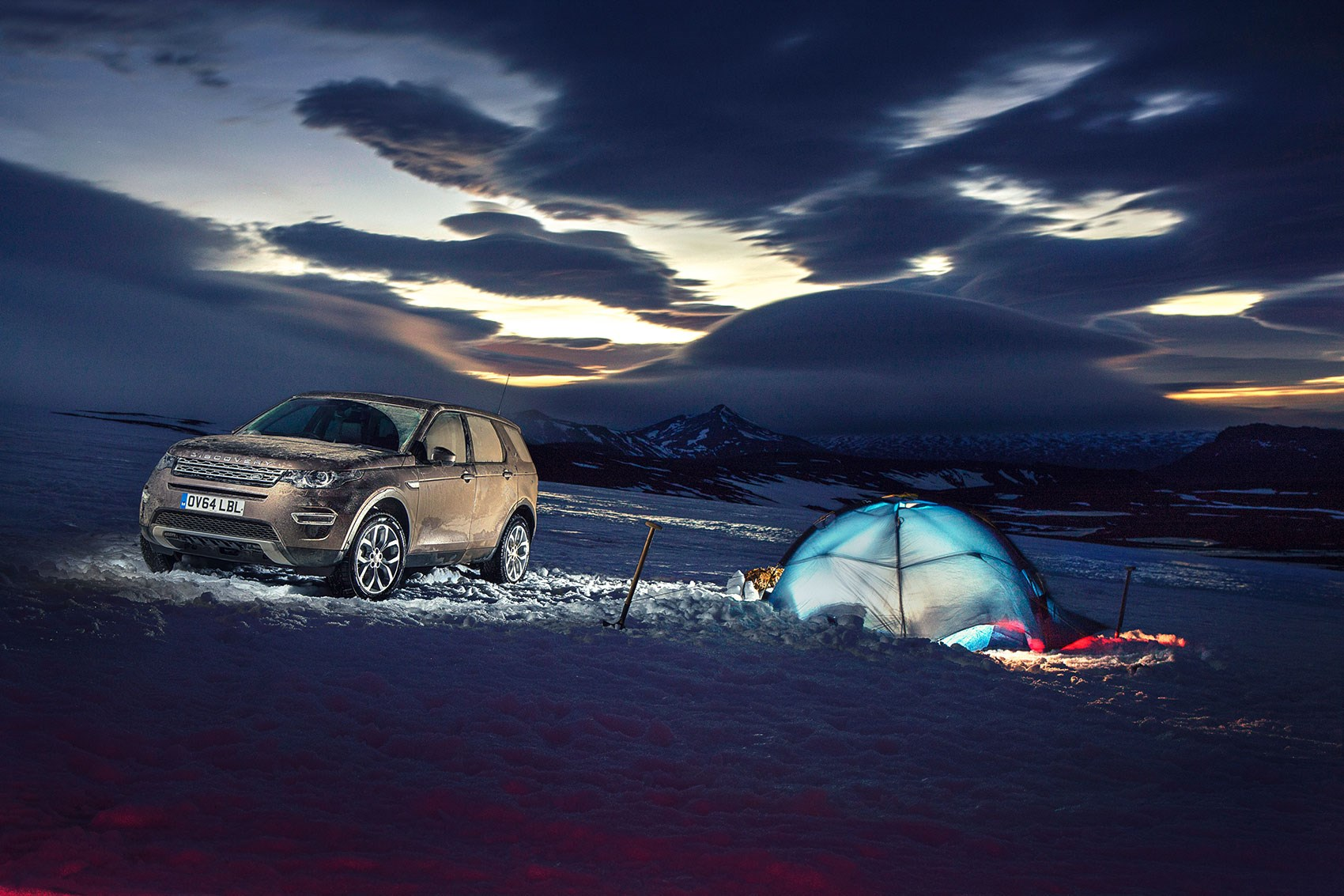 Taking a Land Rover Discovery Sport camping on a glacier