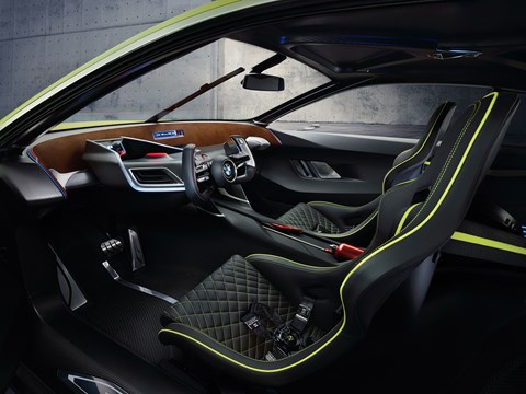 Pared-back dashboard, quilted sports seats and THAT steering wheel dominate 3.0 CSL Hommage interior