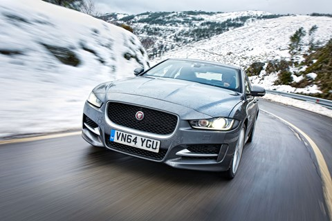 Jaguar XE: a sharp handler, though the traction control in the snow is no great shakes...