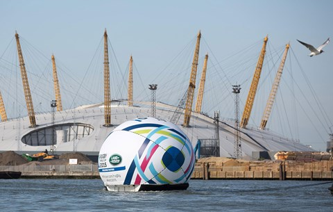 Land Rover floats a giant rugby ball down the Thames