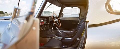 Inside the cabin of the Jaguar Lightweight E-type