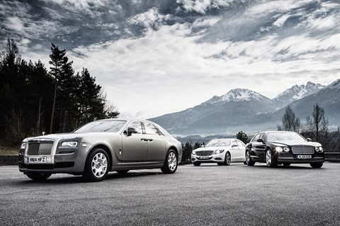 Rolls-Royce Ghost Series II vs Mercedes S600 vs Bentley Flying Spur, photographed for CAR by Tom Salt