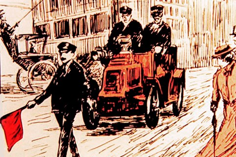 1865 Locomotive Act meant drivers had to follow a man on foot carrying a red flag