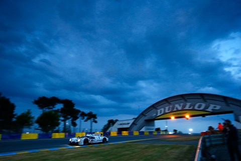 The winning Porsche 919 Hybrid of Nico Huelkenberg, Earl Bamber and Nick Tandy during the night