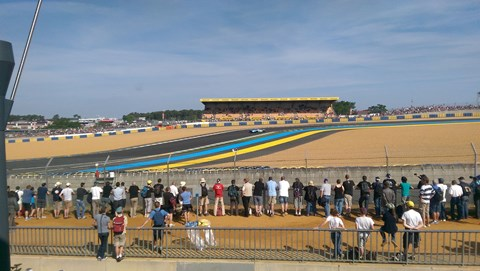 Classic Ford GT40s at Le Mans 2015. They'll be back with a new one next year