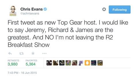 Chris Evans' first tweet as a Top Gear presenter