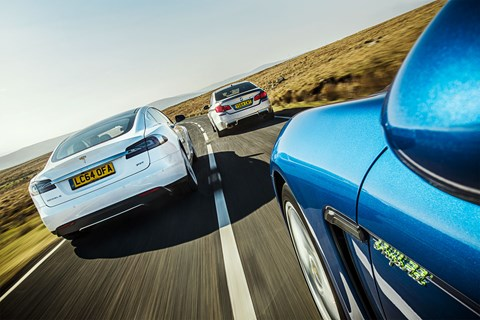 The CAR Giant Test: Tesla vs BMW vs Porsche, shot for CAR magazine May 2015 by Charlie Magee