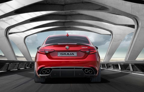 The rear of the new 2016 Alfa Romeo Giulia