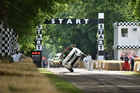 Terry Grant drives up the Goodwood hill on two wheels in new Nissan Juke Nismo RS