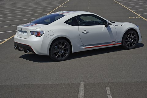 Blanco edition is finished in GT White Pearl with contrasting red and white stripes, and GT86 decal