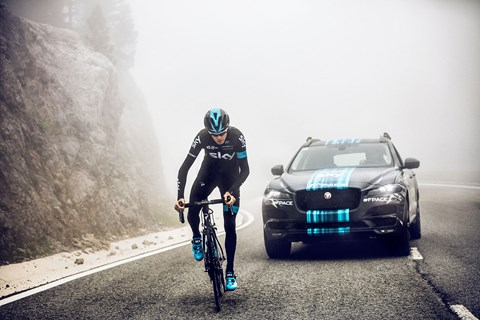 Chris Froome and Team Sky Jaguar F-Pace