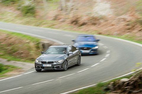 Jaguar XE gives chase to BMW 4-series Gran Coupe