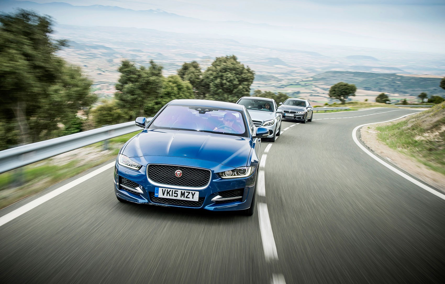 Jaguar XE Fights BMW 3 Series Merc C Class Photographed For CAR By Jamie Lipman