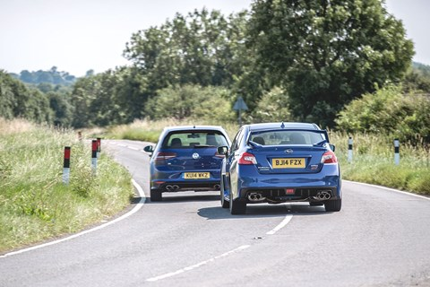 VW Golf R vs Subaru Impreza WRX STi. Shot for CAR by Mark Riccioni