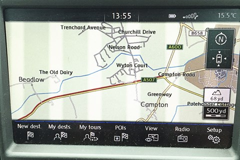 The sat-nav in our Golf R: not its finest moment