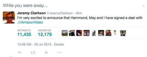 Jeremy Clarkson breaks the news on his Twitter account
