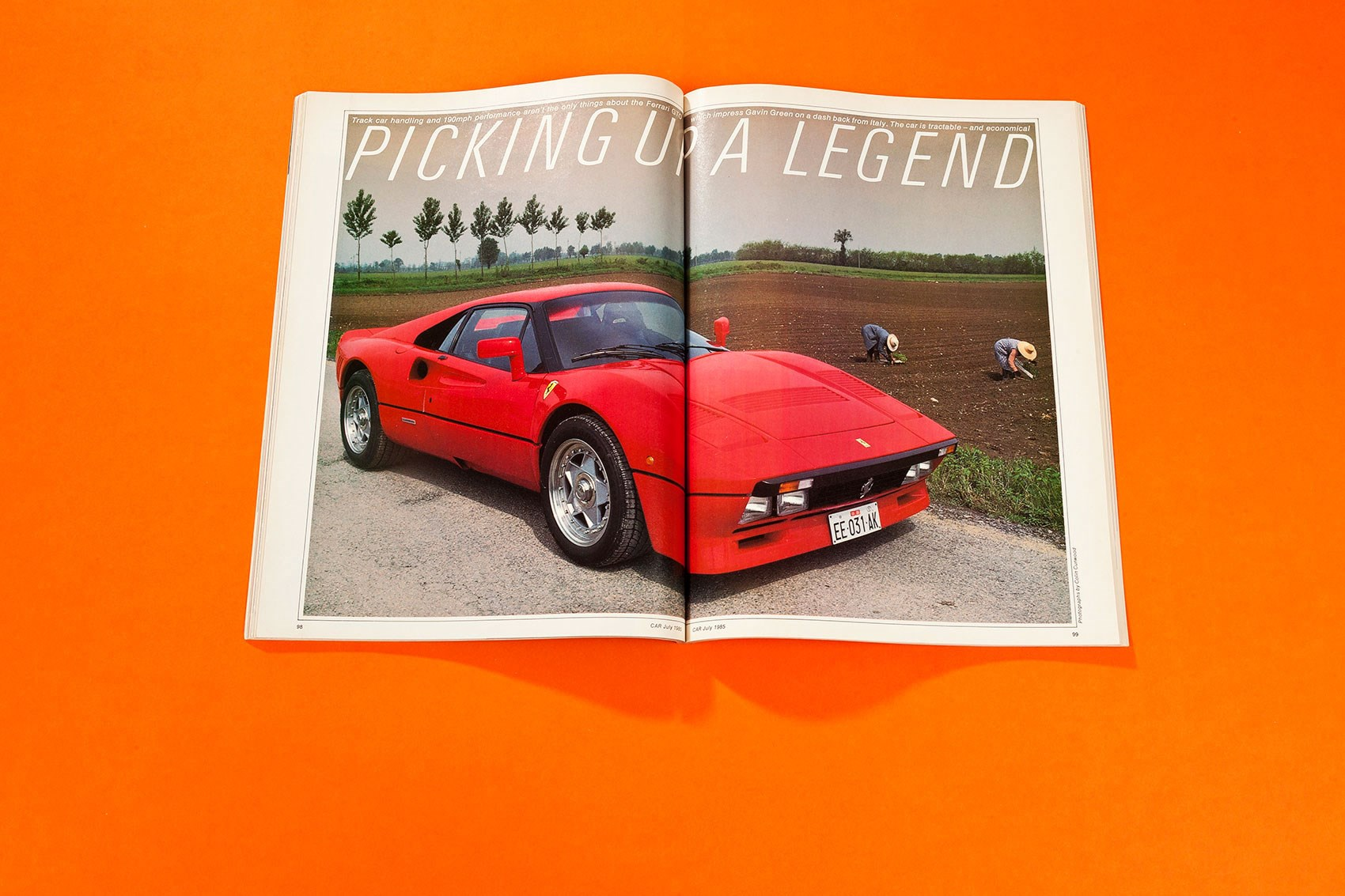 Picking up a legend, July 1985. Gavin Green goes with new owner Ron  Stratton to pick up the Ferrari 288GTO ' ...
