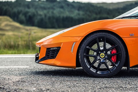 42kg lighter than previous Evora, the 400 gets uprated AP Racing brakes